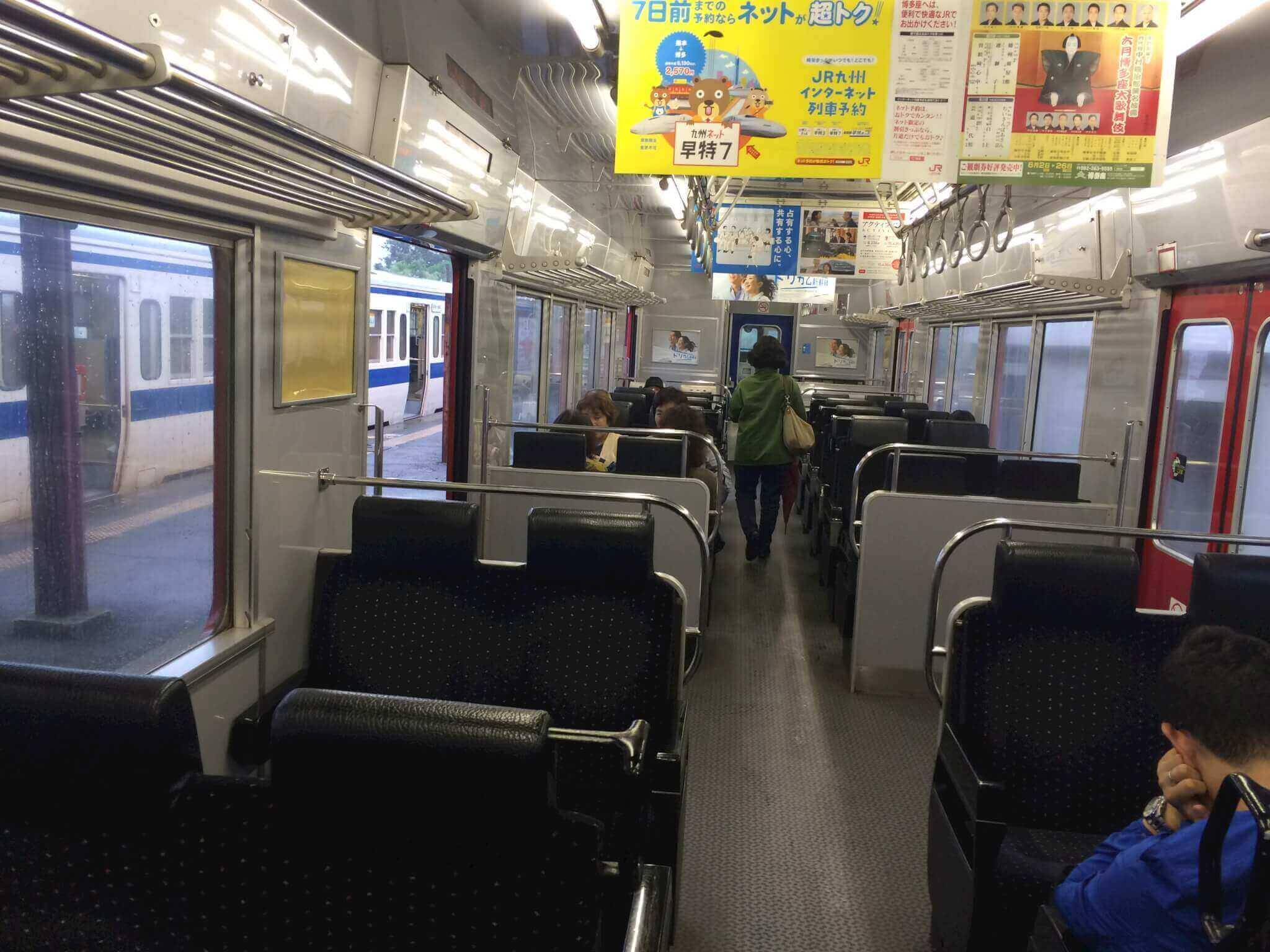 熊本駅へ向かう車内の様子
