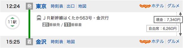東京から金沢を新幹線で移動した場合の料金と時間