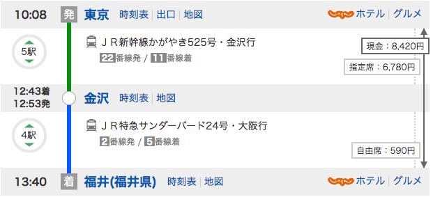東京福井間の移動をYahoo乗り換え案内で調べてみた結果