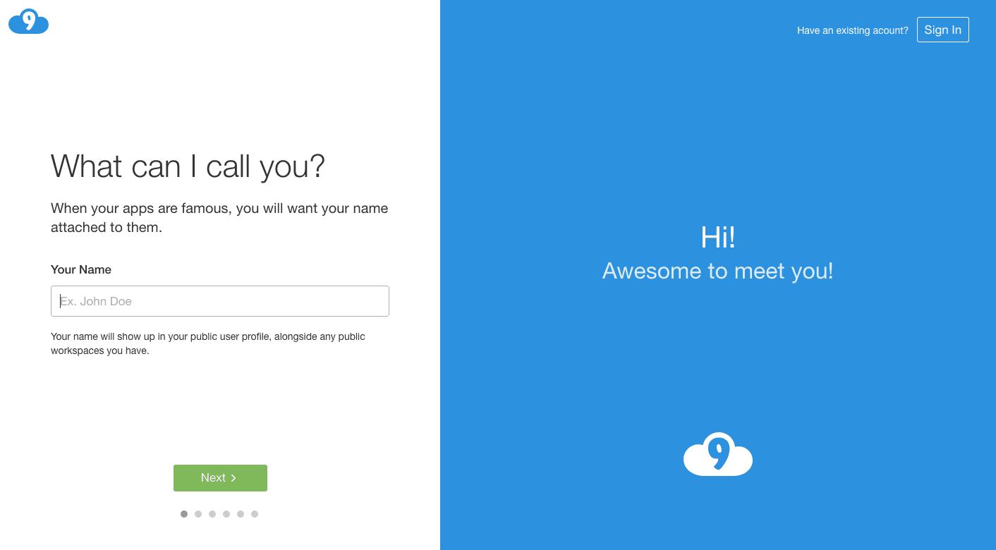 cloud9登録時の画面途中