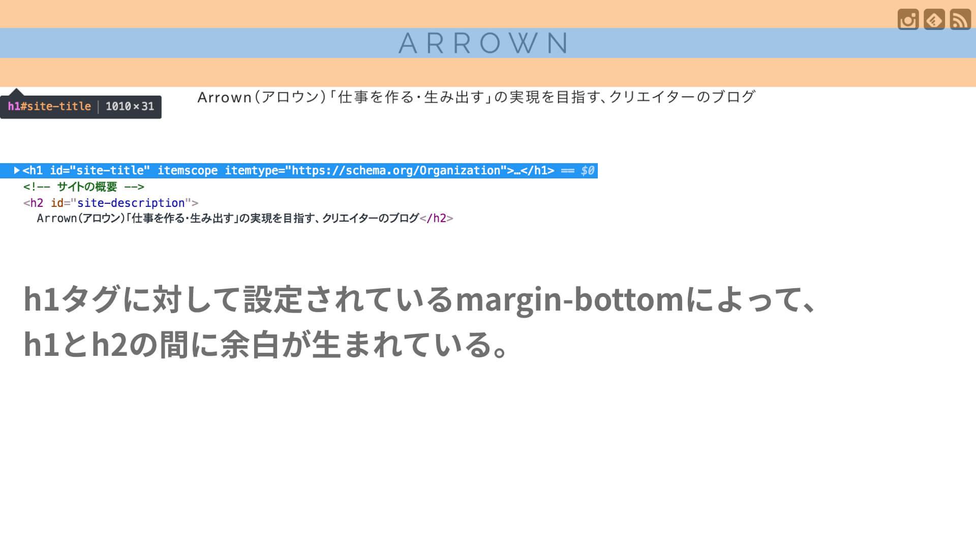 Arrownブログのトップページ、marginが設定されている例