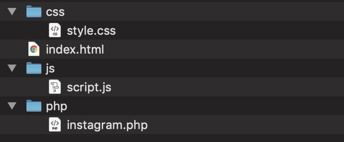Instagram  graph apiを使ってインスタの写真を取得するためのサンプルコードのディレクトリ構造