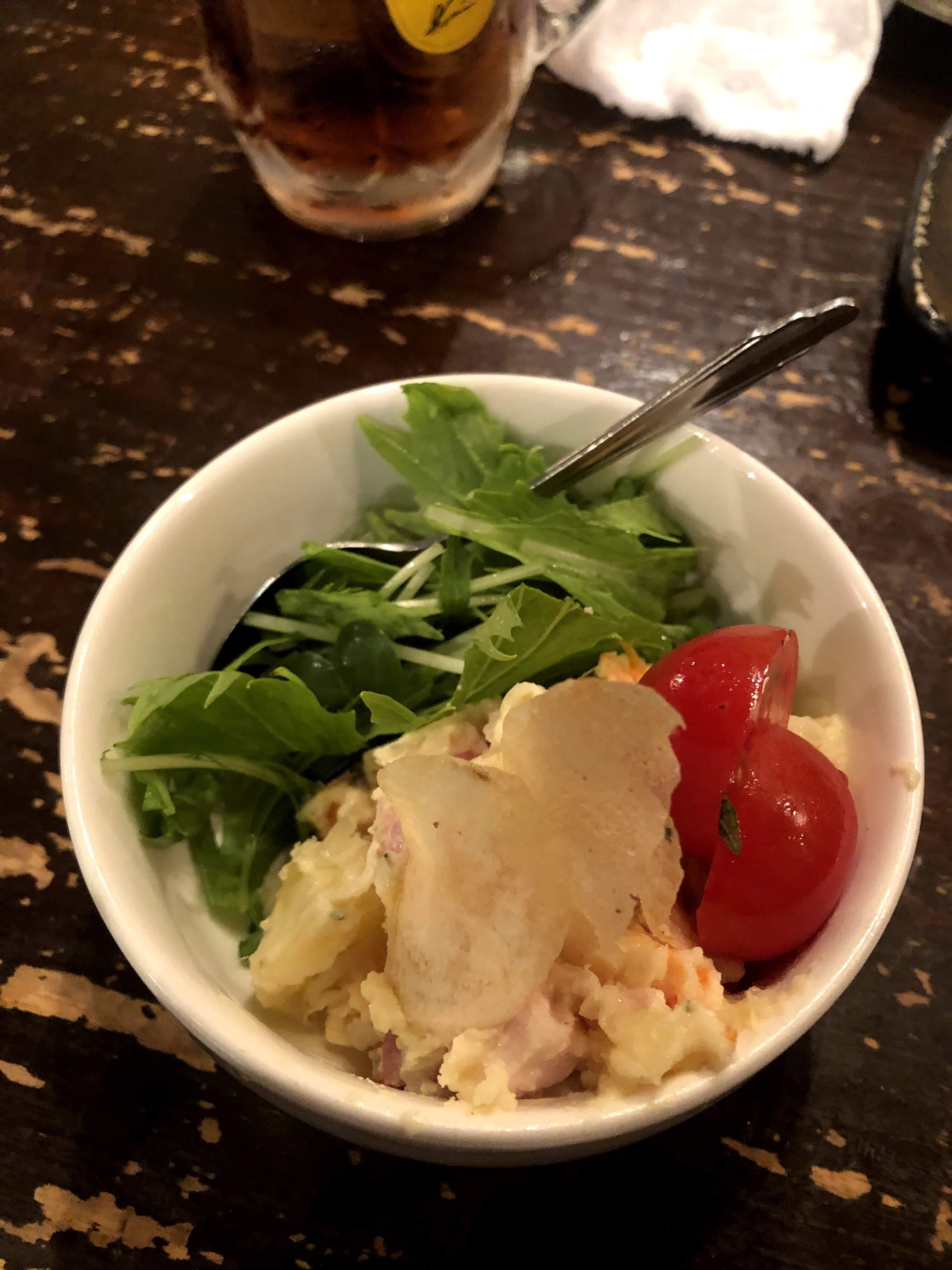 盛岡・串焼き屋「萬(YOROZU)」のポテトサラダ