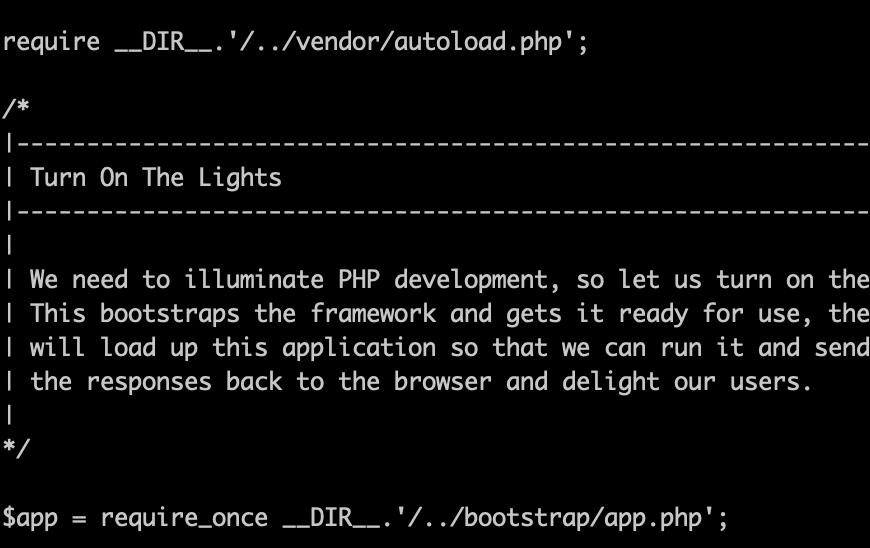 index.phpをvimで開いた時の画面
