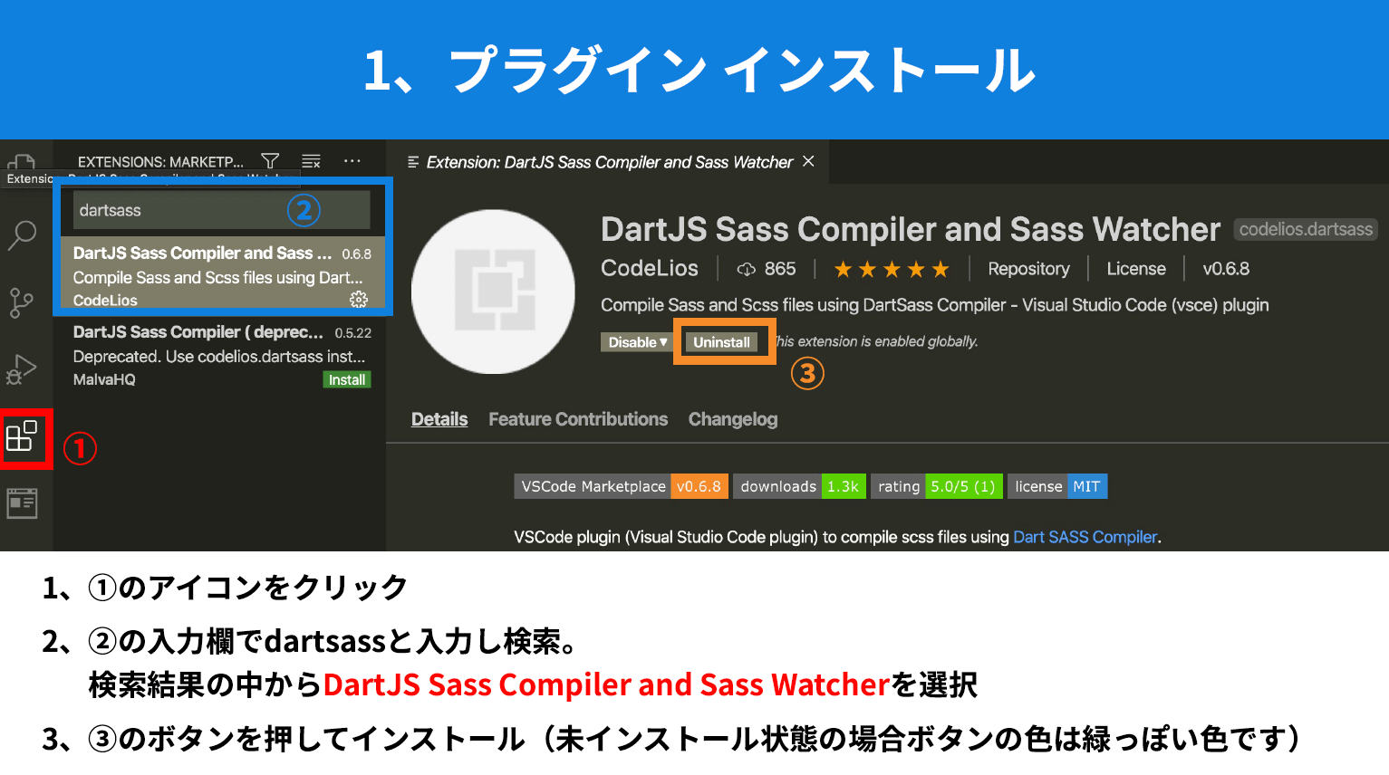 DartJS Sass Compiler and Sass Watcherプラグインのインストール