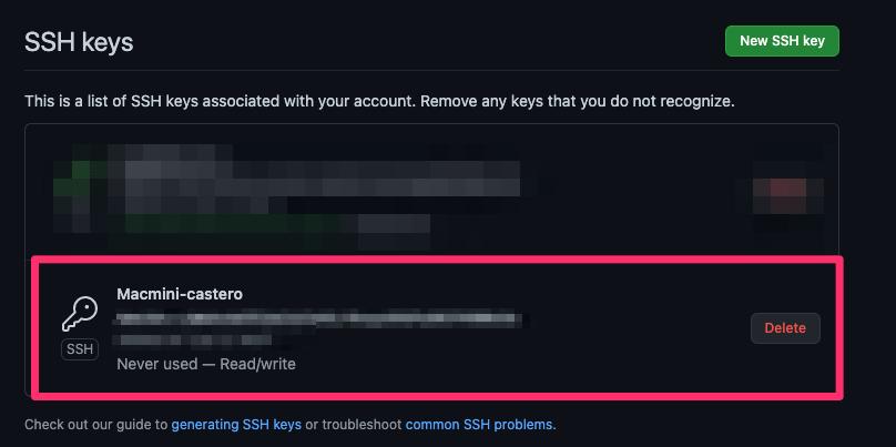 公開鍵を登録する際のGitHubの設定画面