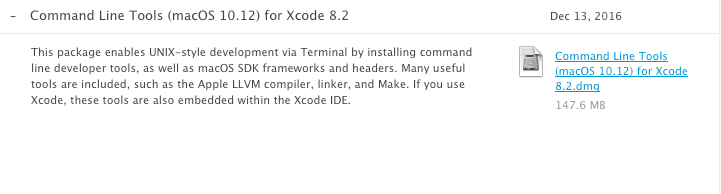 Command Line Tools for Xcodeのインストール