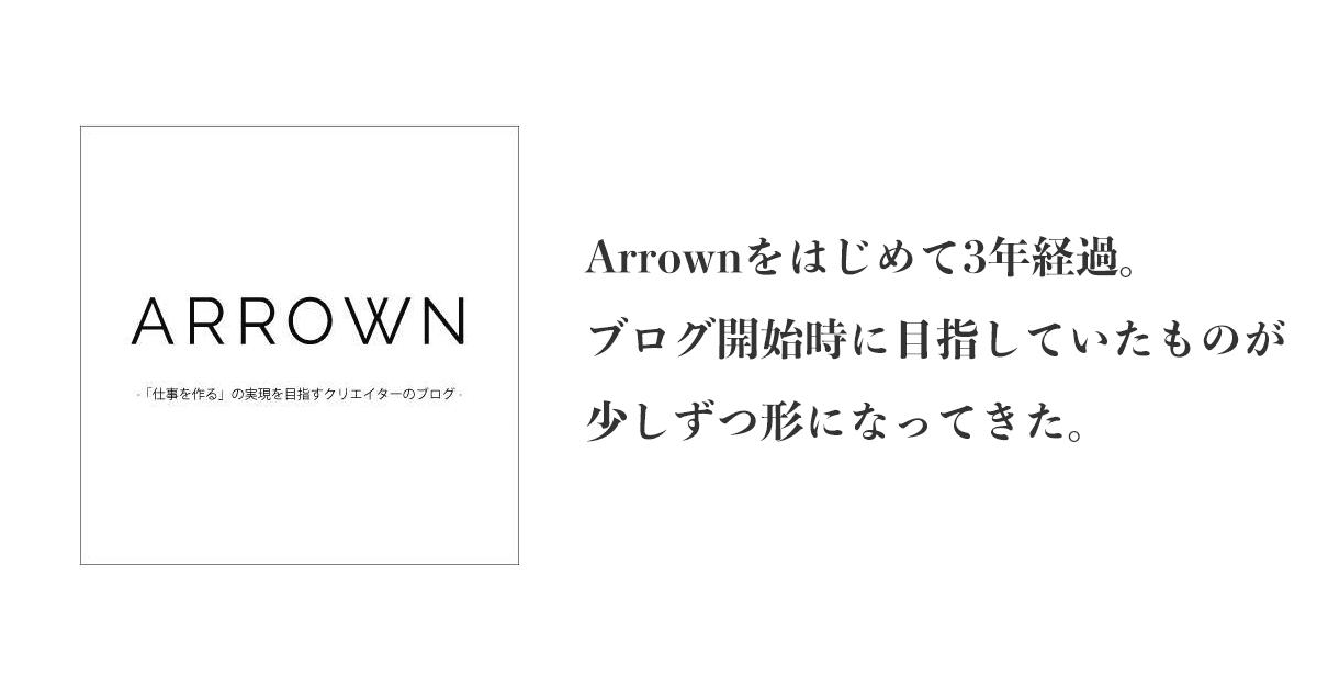 Arrownをはじめて3年経過。ブログ開始時に目指していたものが少しずつ形になってきた。