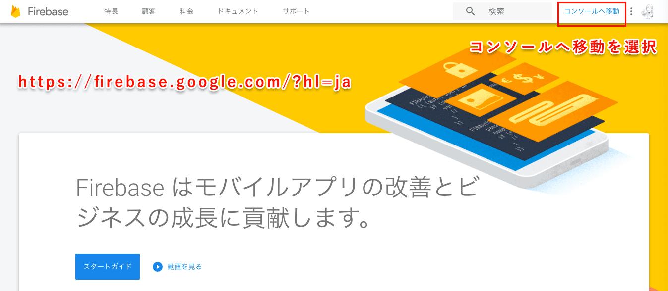 Firebaseのトップ画面