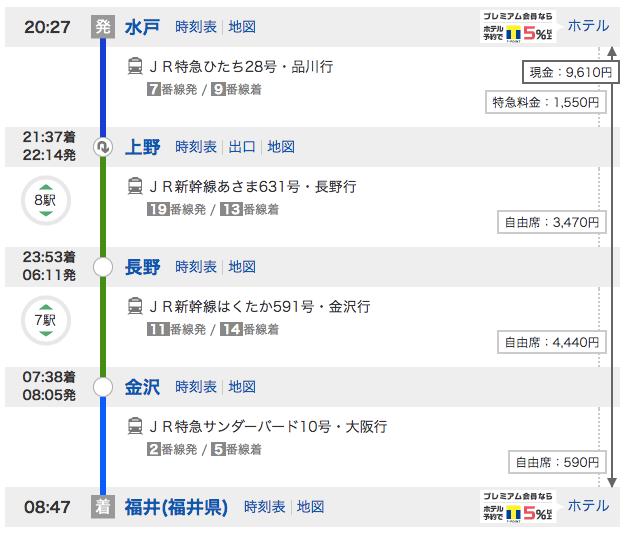 水戸から金沢経由で福井へ移動するルート
