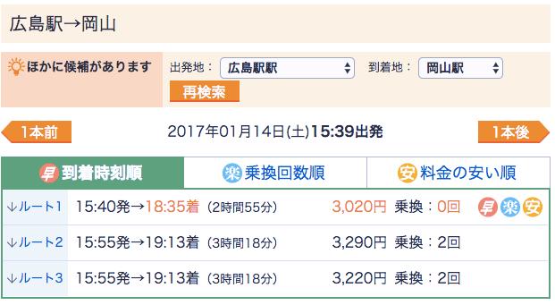 広島駅から岡山駅まで新幹線を使わないで移動する場合の時刻表