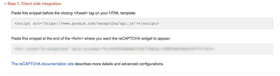 google recaptchaの実装方法について書かれている画面
