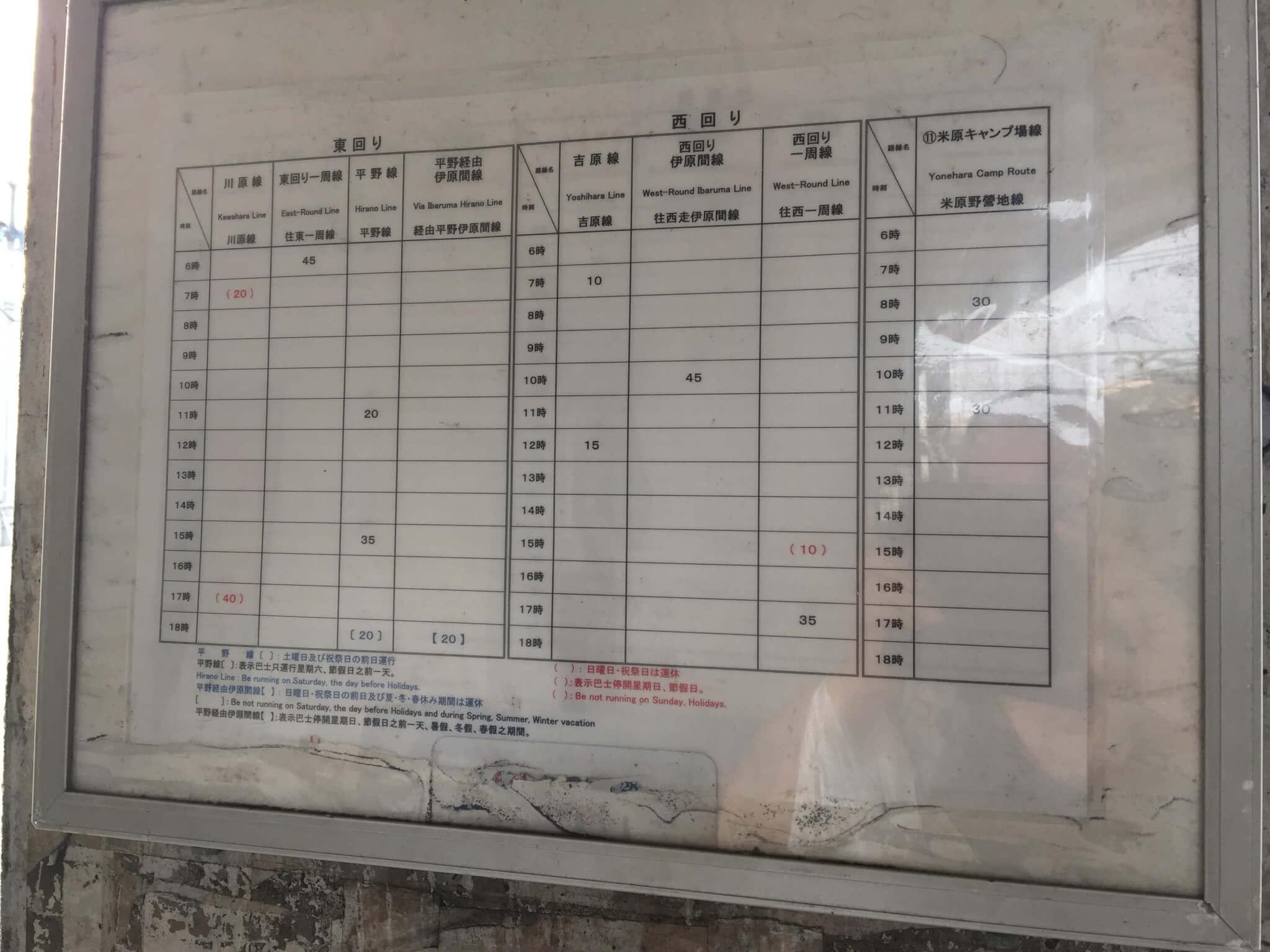 石垣島離島ターミナルから石垣島ゲストハウス棲家まーる方面へ繋がるバスの時刻表