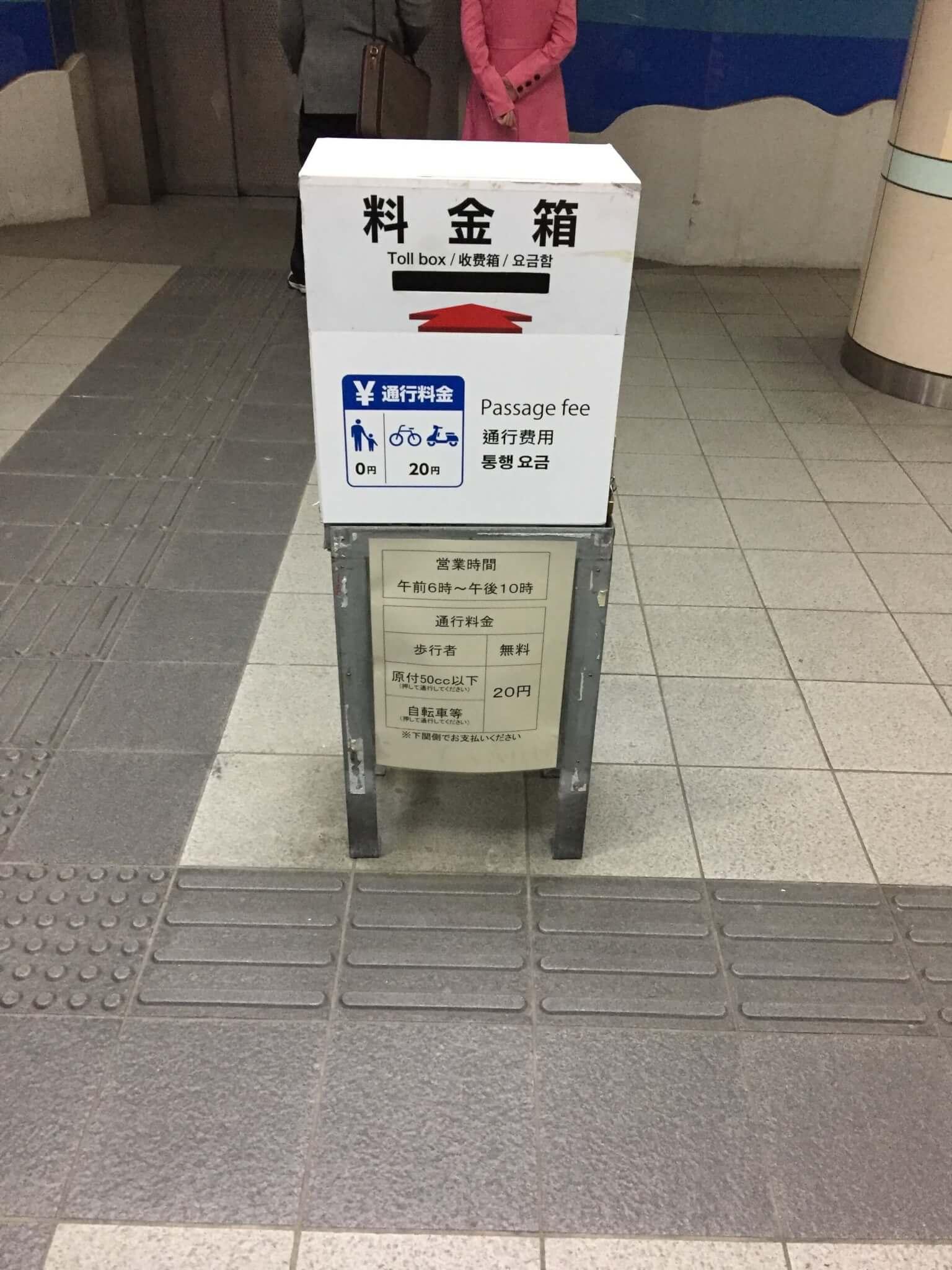関門海峡人道の地上入り口そばの料金箱