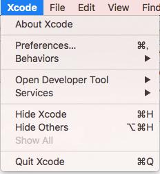 Xcodeのバージョンを確認する画面