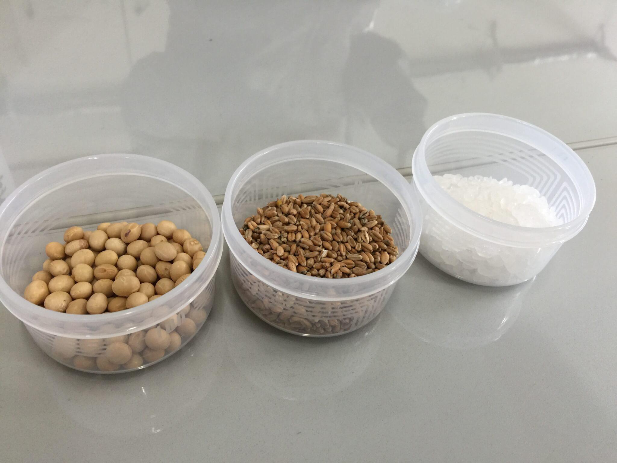 醤油の原料である大豆・小麦・塩