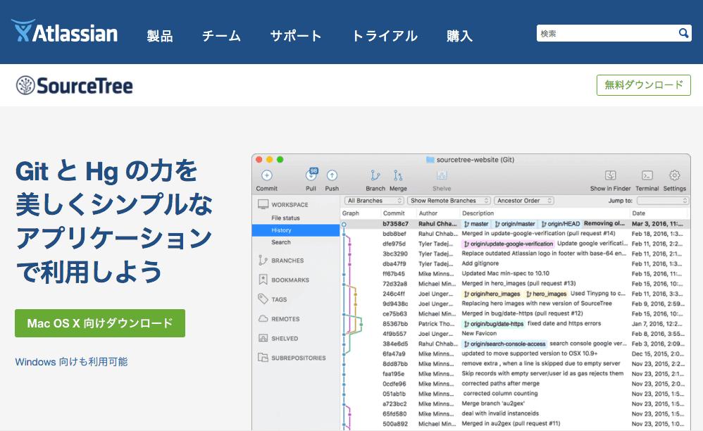 SourceTreeのダウンロード画面