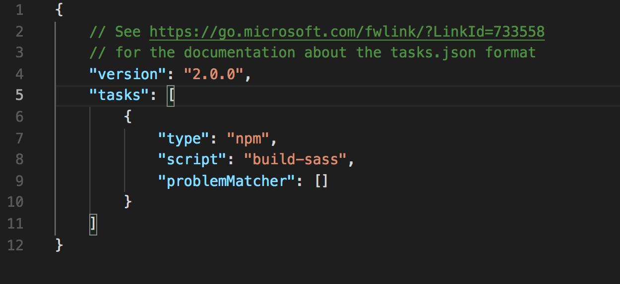 Visual Studio Code で生成されたtasks.json
