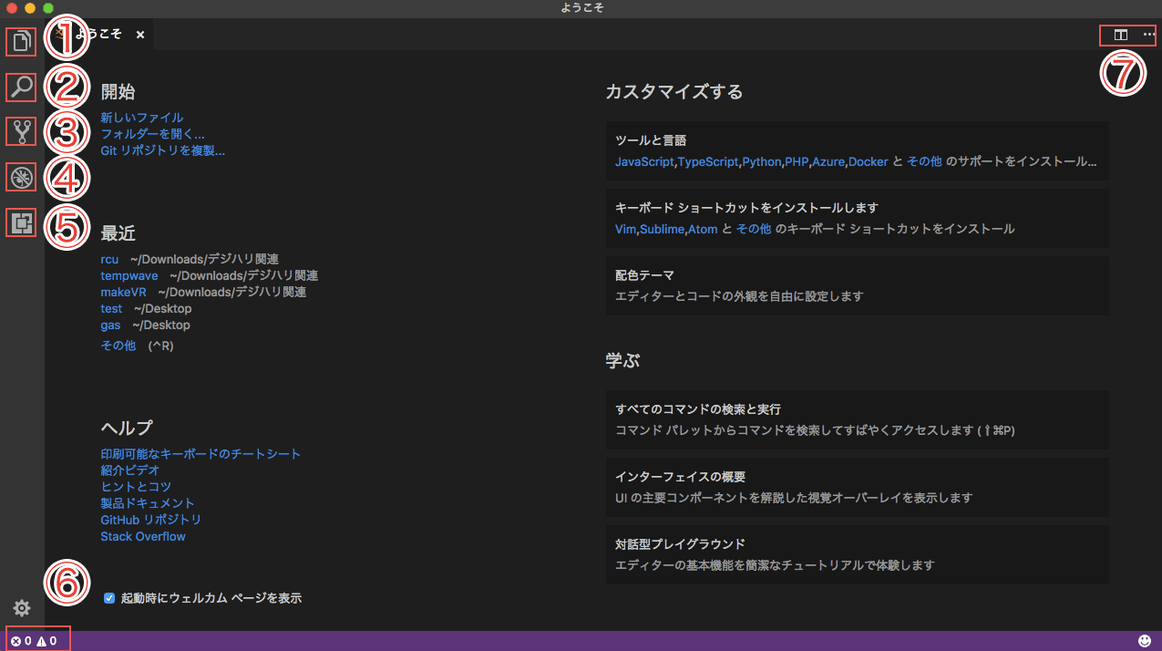 Visual Studio Codeの初期画面