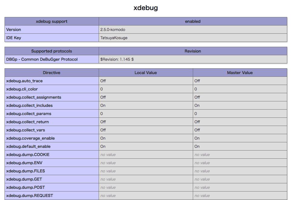 XAMMPでxdebuggerの項目が表示された状況